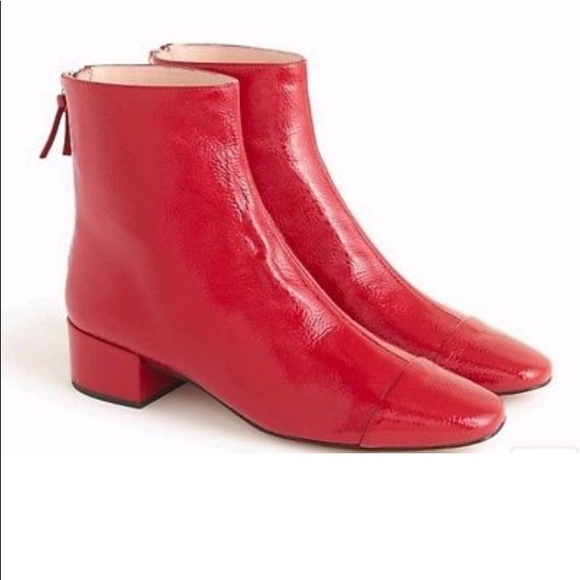 J Crew Red Patent Leather Cap Toe Boots